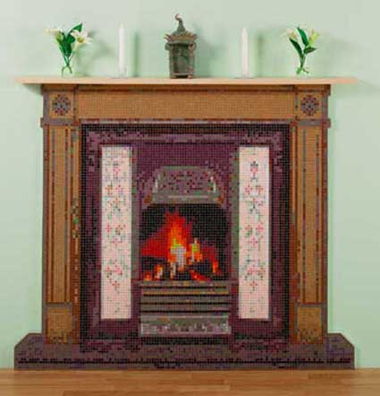 Faux Fireplace Mosaic Mural