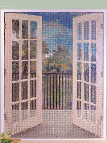 Faux French Doors Mosaic Mural